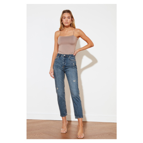 Trendyol Blue Ripped Detailed High Waist Mom Jeans