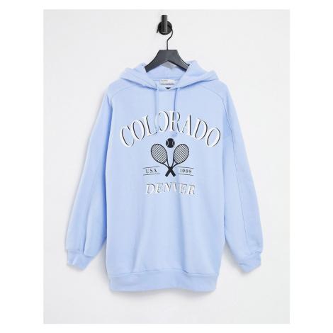 Bershka varsity oversized hoodie in light blue