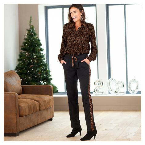 Rovné kalhoty s lampasy černá