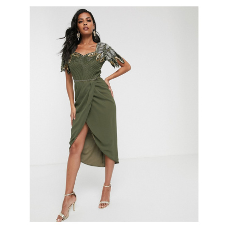 Virgos Lounge drape front midi dress with shoulder detail in khaki-Green