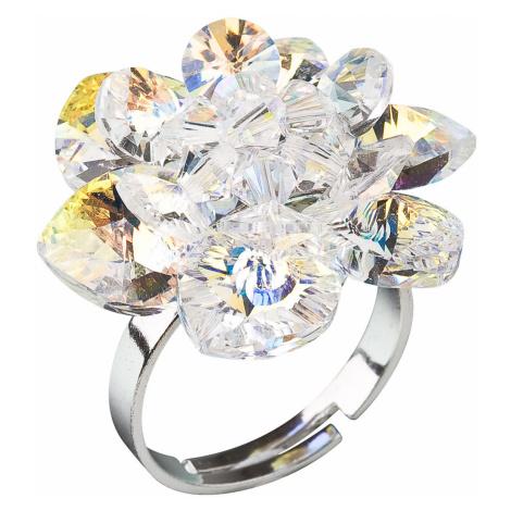 Stříbrný prsten s krystaly Swarovski AB efekt bílá kytička 35012.2 Victum