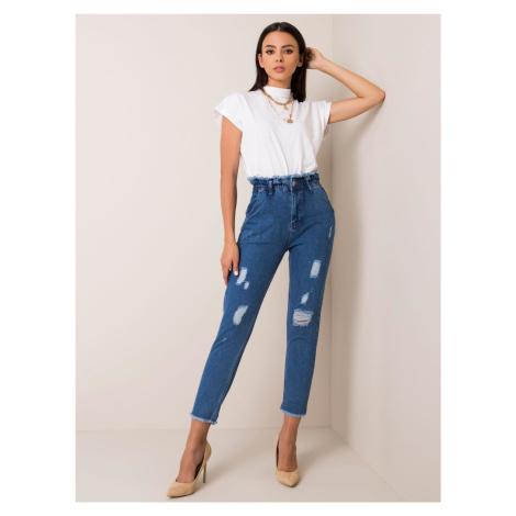 RUE PARIS Tmavě modré roztrhané džíny s vysokým pasem FPrice
