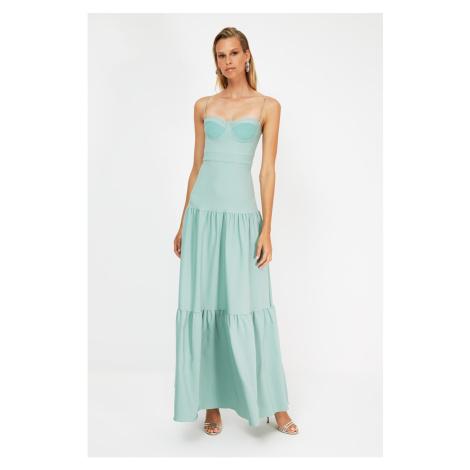 Trendyol Mint Ruffle Detailed Evening Dress & Graduation Dress
