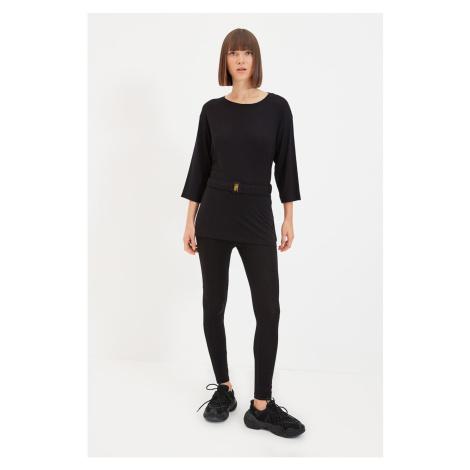 Trendyol Black 2-Piece Knitted Belt Knitted Bottom-Top Set
