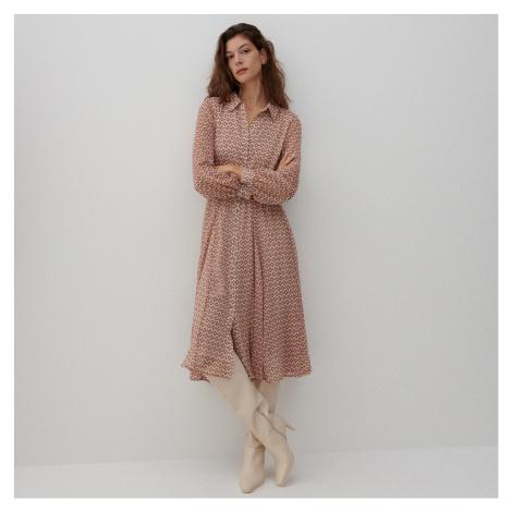 Reserved - Vzorované košilové šaty s páskem - Vícebarevná