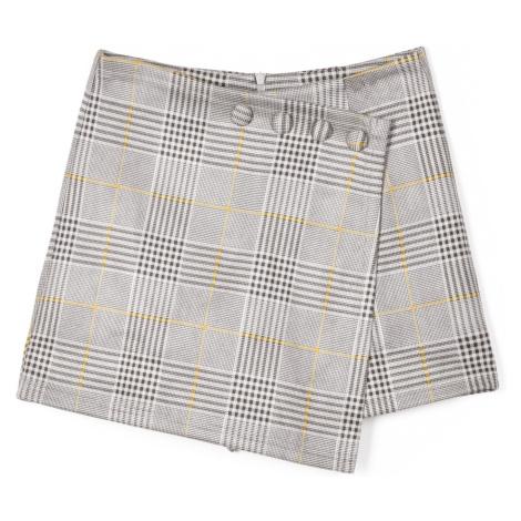 GATE Károvaná sukně se šortkami a knoflíky