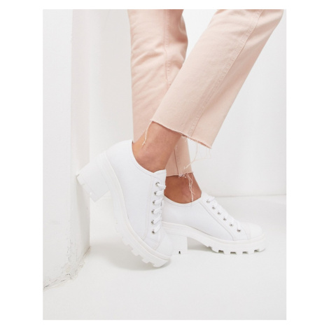 Truffle Collection chunky lace up canvas shoes-White