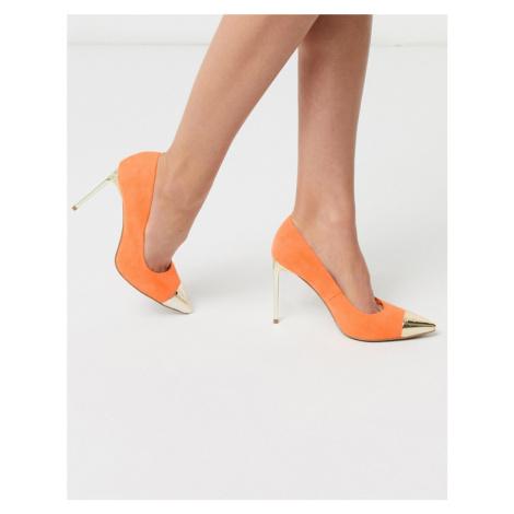 ASOS DESIGN Paige stilletto court shoes with toe cap in orange