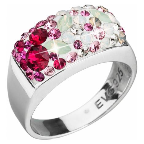 Evolution Group Stříbrný prsten s krystaly Swarovski mix barev červené 35014.3