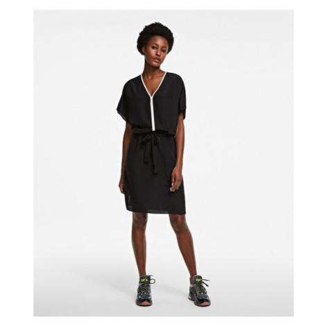 Šaty Karl Lagerfeld Silk Dress W/ Binding - Černá