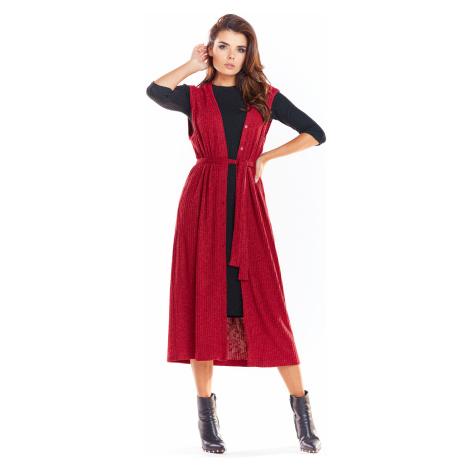 Dámská dlouhá módní vesta na knoflíky s páskem