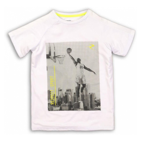 Bílé chlapecké tričko s krátkým rukávem a potiskem Derrill Pidilidi