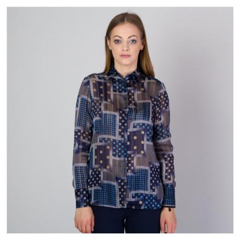 Dámská košile s hnědým a modrým vzorem 11811 Willsoor