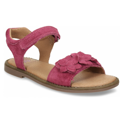 Tmavě růžové dětské kožené sandály Baťa