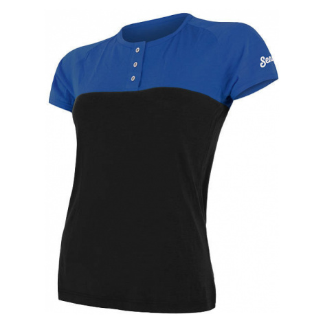 Dámské tričko s knoflíky SENSOR Merino Air PT modrá/černá