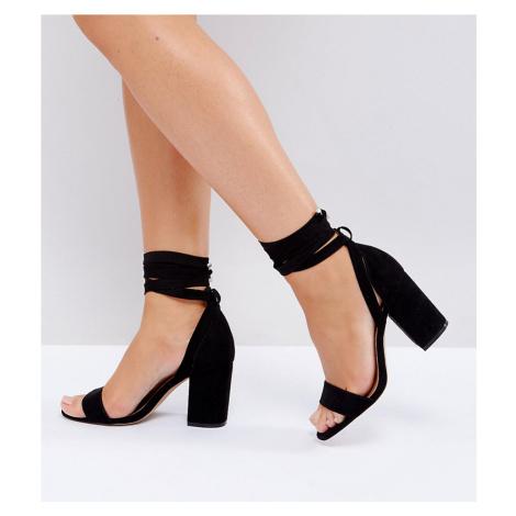 ASOS DESIGN Wide Fit Howling tie leg Block Heeled Sandals-Black