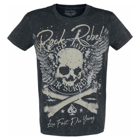 Rock Rebel by EMP Schwarzes T-Shirt mit Waschung und Print tricko černá
