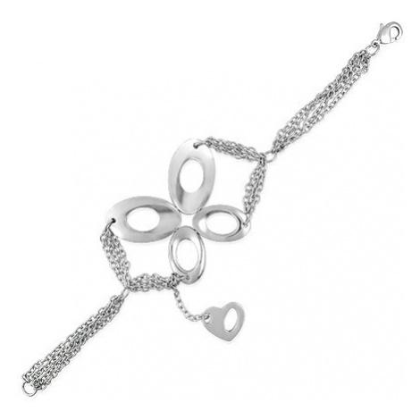 Řetízkový ocelový náramek - motýl a srdce Šperky eshop