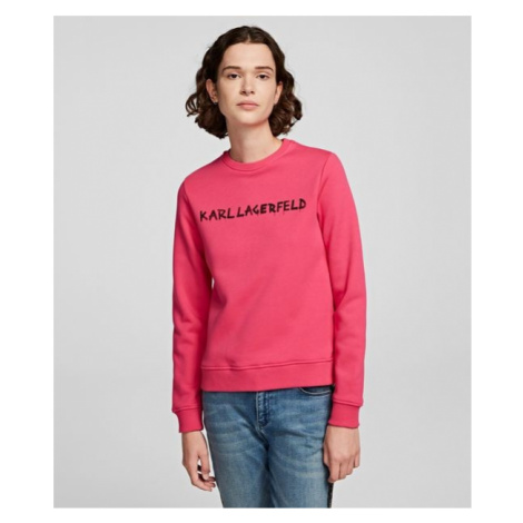 Mikina Karl Lagerfeld Graffiti Logo Sweatshirt - Růžová