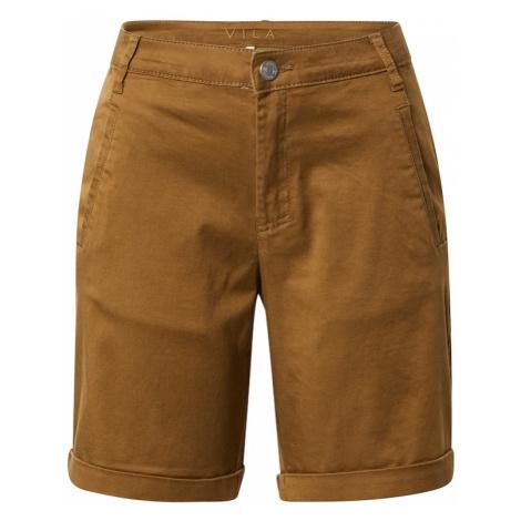 VILA Chino kalhoty karamelová