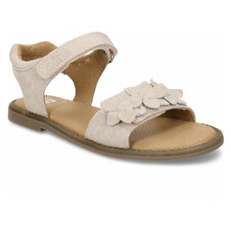 Béžové kožené dívčí sandály s kytkami na pásku Baťa