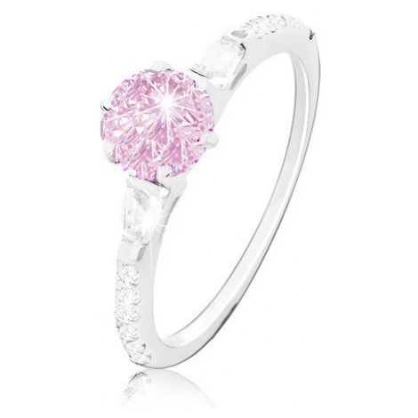 Zásnubní prsten, stříbro 925, kulatý růžový zirkon, třpytivá ramena Šperky eshop