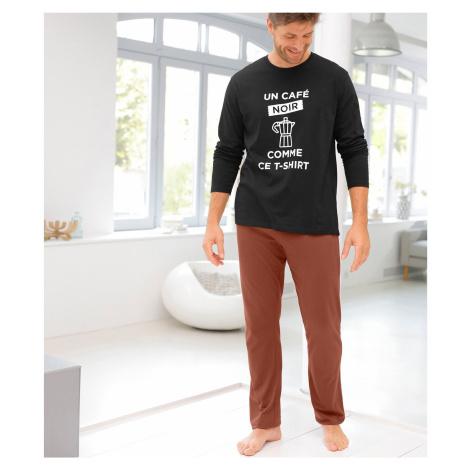 Blancheporte Dvoubarevné pyžamo s dlouhými rukávy kalhotami černá/měděná