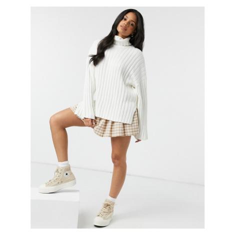 Monki Donnie high neck knit jumper in white