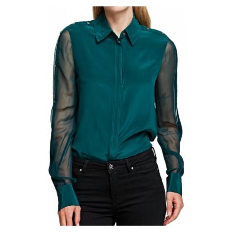 Zelená hedvábná košile KARL LAGERFELD