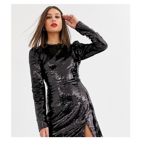 Fashion Union Tall allover sequin mini dress with mini split in black