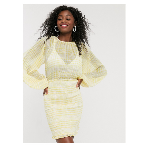 C/Meo Collective Stealing Sunshine check mini dress in yellow check