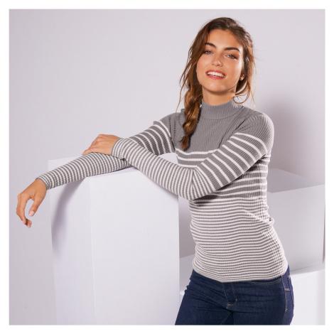 Blancheporte Žebrovaný dvoubarevný pulovr s dlouhými rukávy šedá/režná