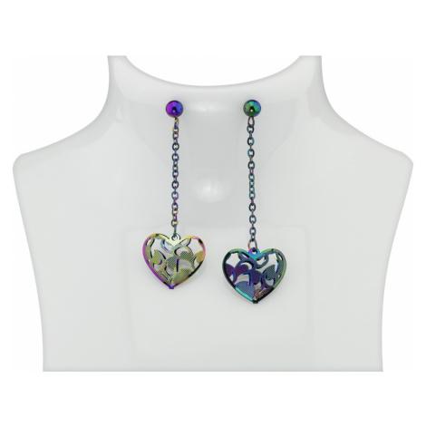 Linda's Jewelry Náušnice Visací Srdce Multicolor chirurgická ocel IN159