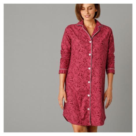 Blancheporte Flanelová noční košile s límečkem a potiskem koťátek růžová
