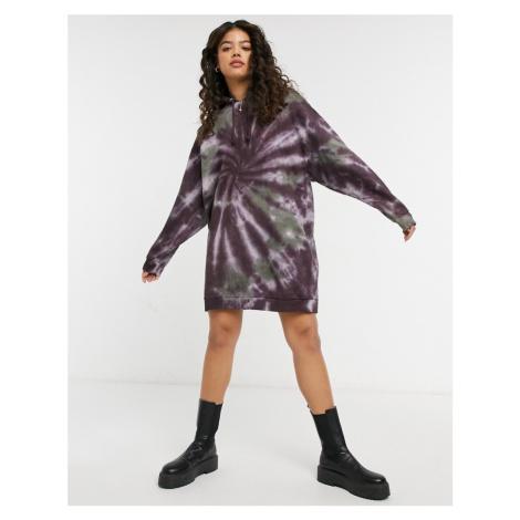 ASOS DESIGN mini hoodie sweatshirt dress in tie dye spiral print-Black