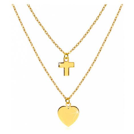 Náhrdelník ve žlutém 14K zlatě - lesklé symetrické srdíčko a kontura křížku Šperky eshop
