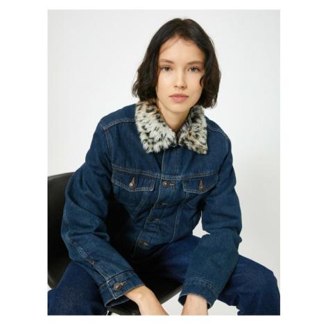 Koton Women's Blue Collar Faux Fur Detailed Jean Jacket