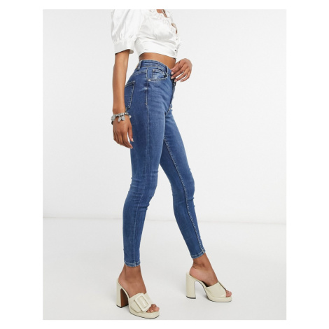 Bershka skinny high waist jean in blue