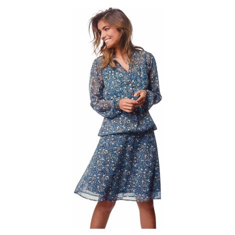Blancheporte Áčková krátká sukně, voál s potiskem modrá