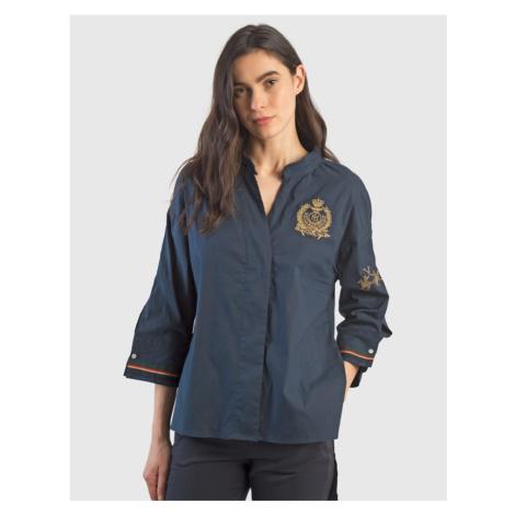 Košile La Martina Woman Shirt Silky Poplin - Modrá