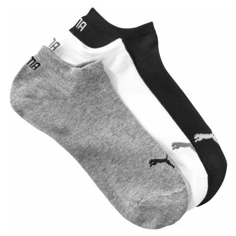 Blancheporte Kotníkové ponožky Sneaker Puma, sada 3 páry (šedí, bílé, černé) šedá+černá+bílá