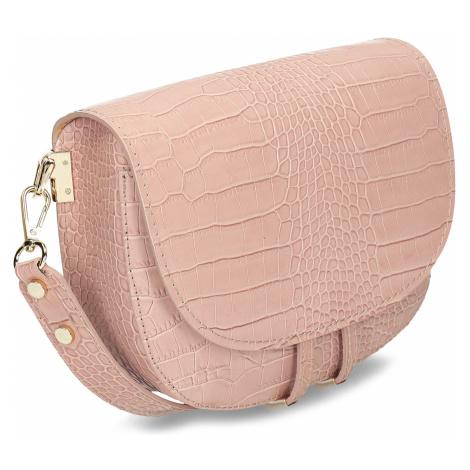 Růžová kožená dámská kabelka s hadím vzorem Baťa