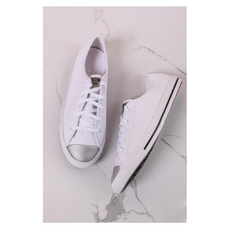 Bílé nízké kožené tenisky Chuck Taylor All Star Dainty Mono Metallic Converse