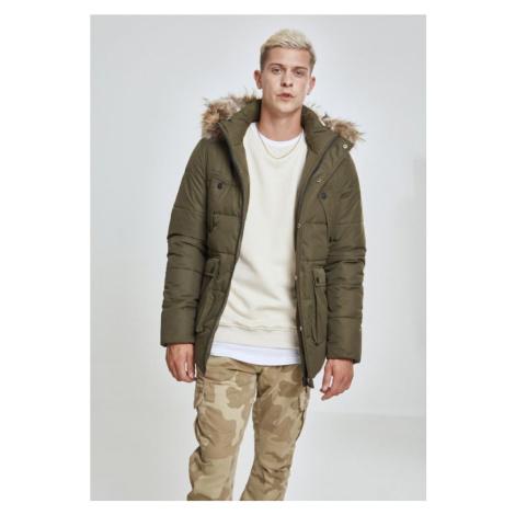 Faux Fur Hooded Jacket - dark olive Urban Classics
