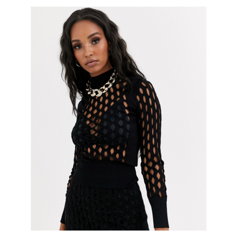 River Island knitted mesh long sleeved top in black co-ord