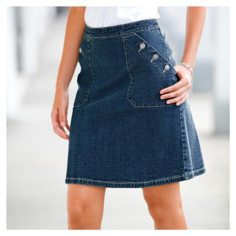 Blancheporte Džínová sukně s knoflíkovými kapsami modrá