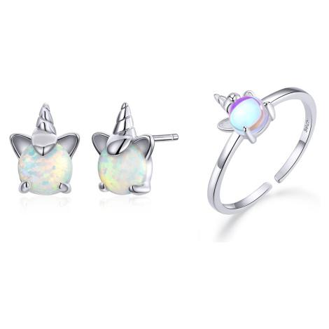 Linda's Jewelry Zvýhodněná sada šperků Cute Unicorn Ag 925/1000 IS045