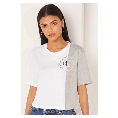 Calvin Klein Calvin Klein dámské bílé tričko CK ROUND LOGO BLOCKED TEE
