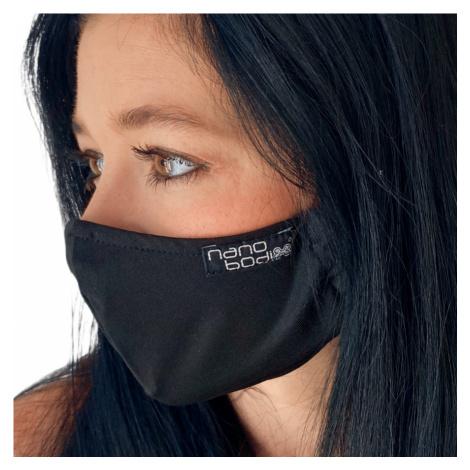 NANO rouška FIX AG-TIVE 10F 99,9% (2-vrstvá s kapsou, fixací nosu a 10 filtry) Černá