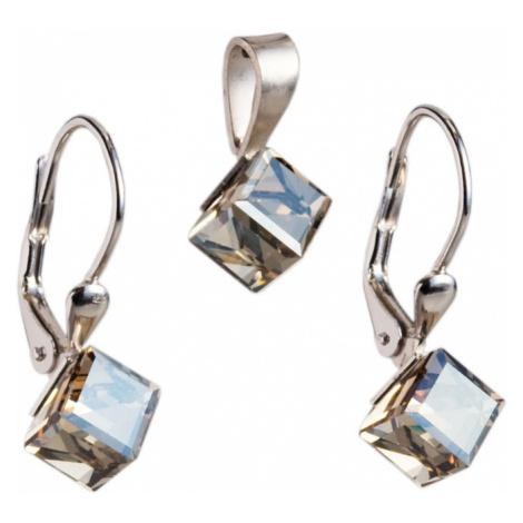 Evolution Group Sada šperků s krystaly náušnice a přívěsek zlatá kostička 39068.5